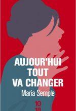 """Couverture du livre """"Aujourd'hui tout va changer"""" de Maria Semple"""