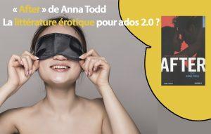 Sur fond gris, la photo d'une ado, dénudée (format buste), qui rit en tenant de ses 2 mains un masque noir couvrant ses yeux.