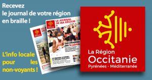 2 couvertures de magazines sortent du logo de la région Occitanie