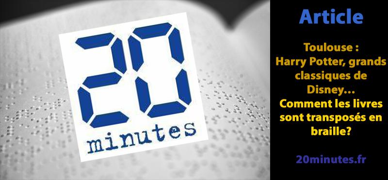 logo de 20minutes.fr sur une page braille