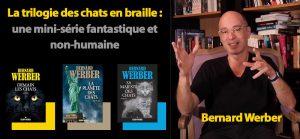Portrait de B. Werber et les 3 couvertures de sa trilogie des achats