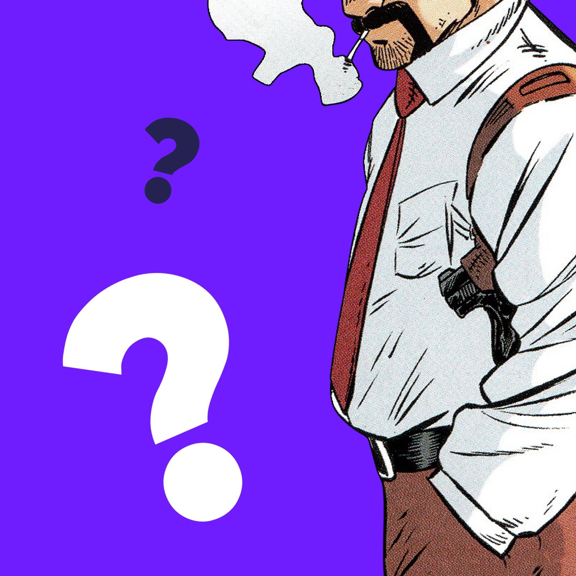 le dessin BD d'un flic en chemise avec arme et holster.