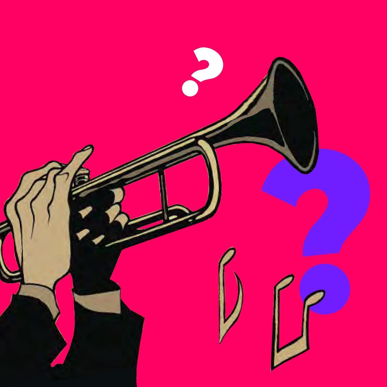 Dessin BD: des mains jouent d'une trompette