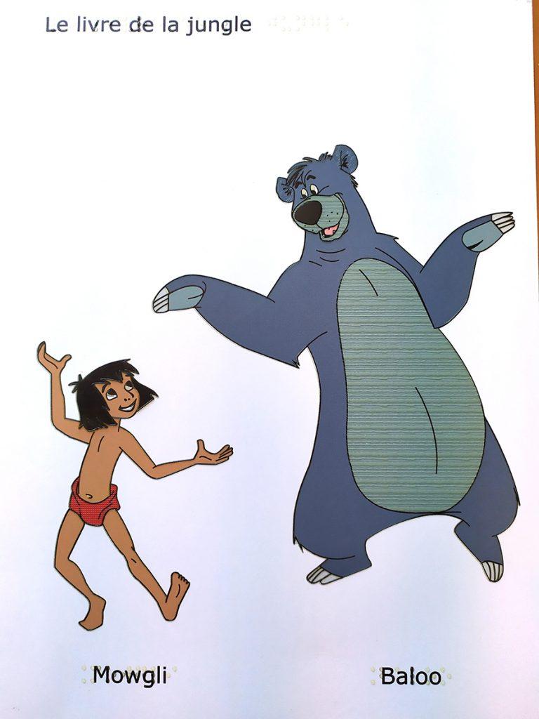 Dessins tactiles de Baloo et Mowgli