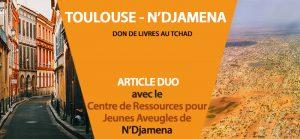 Les rues de Toulouse face à une vue aérienne de N'djamena.